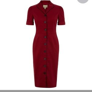 Lindy Bop Avalon Red Pencil Dress with Collar NWT